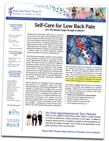 Physical Therapy Newsletter Sample - LBP