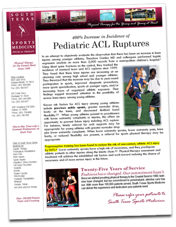 Physical Therapy Newsletter Sample - Pediactric Sports