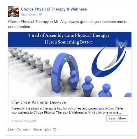 Sample Facebook Advertising for Physical Therapy