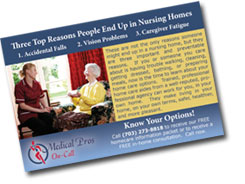 Home Health Care Advertising - Click to view full-size postcard sample.